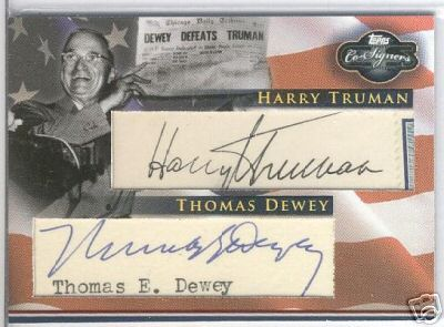 Harry Truman and Thomas Dewey Cut Signatures